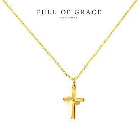 【再入荷】≪FULL OF GRACE≫ フルオブグレイスキュービックジルコニア パール 十字架クロス ネックレス Gold Necklace (Gold)【レディース】 ワンマイルコーデ【ギフト ラッピング】