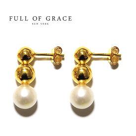 【再入荷】≪FULL OF GRACE≫ フルオブグレイス真珠パール スタッズピアス Pearl Studs Earrings (Gold)【レディース】 ワンマイルコーデ