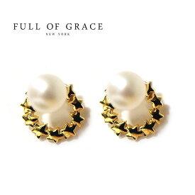 【再入荷】≪FULL OF GRACE≫ フルオブグレイス真珠パール 星モチーフフープピアス Small Hoop Pearl Studs Earrings (Gold)【レディース】 ワンマイルコーデ