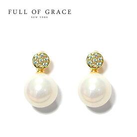 【再入荷】≪FULL OF GRACE≫ フルオブグレイス真珠パール キュービックジルコニア スタッズピアス Pearl Earrings (Gold)【レディース】 ワンマイルコーデ