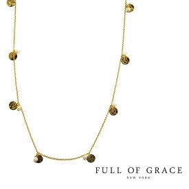 【再入荷】≪FULL OF GRACE≫ フルオブグレイス真珠パール ゴールドプレート ロングネックレス Pearl Plate Necklace (Gold)【レディース】 ワンマイルコーデ【ギフト ラッピング】