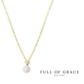 【MORE 雑誌掲載】【再入荷】≪FULL OF GRACE≫ フルオブグレイスシェルパール キュービックジルコニア ネックレス Pearl CZ Necklace (Gold)【レディース】 ワンマイルコーデ【ギフト ラッピング】