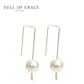 ≪FULL OF GRACE≫ フルオブグレイス 真珠パール ドロップ ピアス Pearl Drop Hoop Earrings【レディース】 ワンマイルコーデ