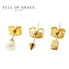 ★≪FULL OF GRACE≫ フルオブグレイスシンプル 真珠パール ゴールドキュービックピアス TaeTae Stud Earrings (Gold)【レディース】 ワンマイルコーデ