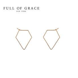 ≪FULL OF GRACE≫ フルオブグレイスシンプル ダイア型 フープ ピアス Dia Hoop Earrings (Gold)【レディース】 ワンマイルコーデ