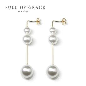 ≪FULL OF GRACE≫ フルオブグレイス 真珠 パール 3粒 ロング ピアス Drop Droplet Pearl Earrings (Gold)【レディース】 ワンマイルコーデ