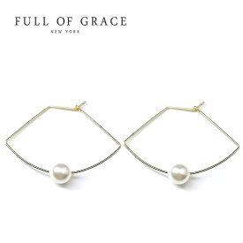 ≪FULL OF GRACE≫ フルオブグレイス ひと粒 真珠 パール 扇型 フープ ピアス Gingko Pearl Earrings (Gold)【レディース】 ワンマイルコーデ