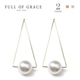 ≪FULL OF GRACE≫ フルオブグレイス 全2色 ひと粒 真珠 パール 三角形 トライアングル フープ ピアス Triangle Dot Pearl Earrings (Gold/Silver)【レディース】 ワンマイルコーデ【交換・返品不可】