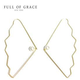 【待望の最新作】≪FULL OF GRACE≫ フルオブグレイス ひと粒 真珠 パール フープ ピアス Cockle Shell Pearl Earrings (Gold)【レディース】 ワンマイルコーデ