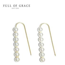 【待望の最新作】≪FULL OF GRACE≫ フルオブグレイス 小粒 パール カーブ フック ピアス Pearl Earrings (Gold)【レディース】 ワンマイルコーデ