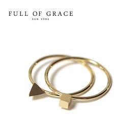 ≪FULL OF GRACE≫ フルオブグレイス モダンコレクション 2本セット 三角型 トライアングル 四角型 スクエア キュービック リング Modern collection CUBID RING SET (Gold)【レディース】 ワンマイルコーデ