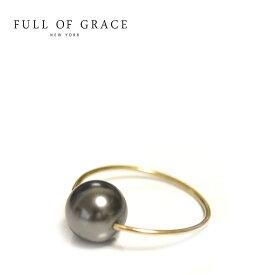【待望の最新作】≪FULL OF GRACE≫ フルオブグレイス真珠 ブラック パール ゴールド ワイヤー ピンキー リング Circle Dot Ring (Gold)【レディース】 ワンマイルコーデ【ギフト ラッピング】