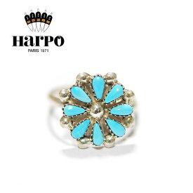 【再入荷】【JJ 雑誌掲載】【シルバーアクセ特集 10%OFF】≪HARPO≫ アルポボヘミアン 天然石 ターコイズ シルバー フラワーリング Turquoise Flower Ring (Silver)【レディース】