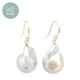 【再入荷】【スタイリスト大草直子さん着用】【STORY 雑誌掲載】【eclat 雑誌掲載】≪in 2 design≫ インツーデザイン真珠 バロック パール フック ピアス Kate Baroque Pearl Earrings (Gold)【新宿伊勢丹ポップアップ商品】