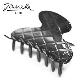 【待望の新入荷】≪Janeke≫ ヤネケキルティング型 ブラック ラージサイズ ラウンド ヘアクリップ バナナクリップ Hair Clip (Black)【レディース】
