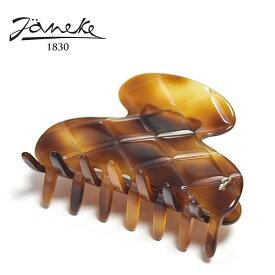 【待望の最新作】≪Janeke≫ ヤネケキルティング型 べっ甲 ライト ブラウン 飴色 スモール ラウンド ヘアクリップ Hair Clip (Light Tortoise)【レディース】
