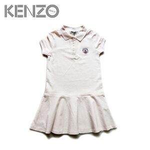 【4歳/5歳/6歳/7歳】≪KENZO≫ ケンゾートラ ワンポイント 刺繍 半袖 ポロシャツ ワンピース ピンクTiger Head Logo Cotton Polo Dress (Pink)キッズ/女の子/子供