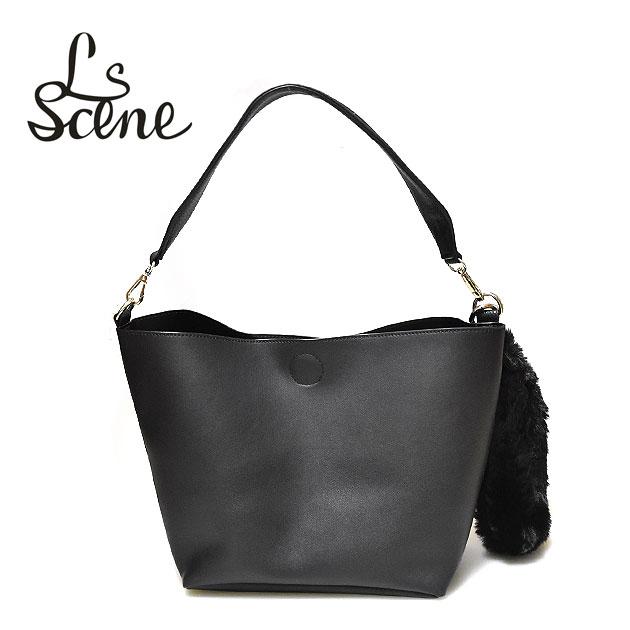 ≪LS Scene≫ エルエスシーンテープハンドル シンプル ブラック トートバッグ Tape Handle Bag (Black)【レディース】