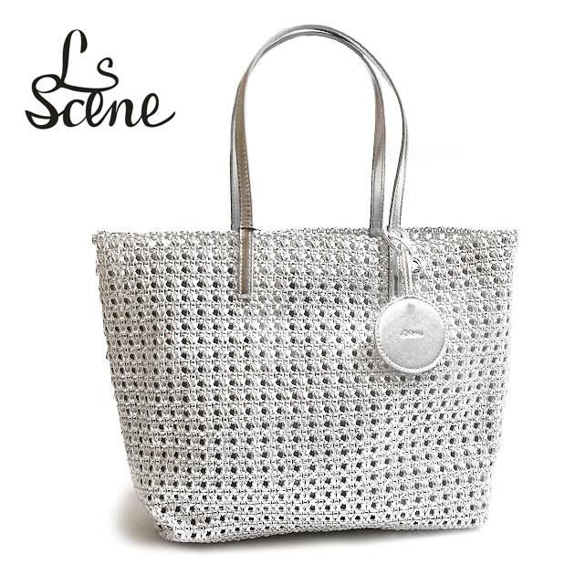 【STORY 雑誌掲載】【再入荷】≪LS Scene≫ エルエスシーンシルバー かご編み トートバッグ Silver Bag (Silver)【レディース】