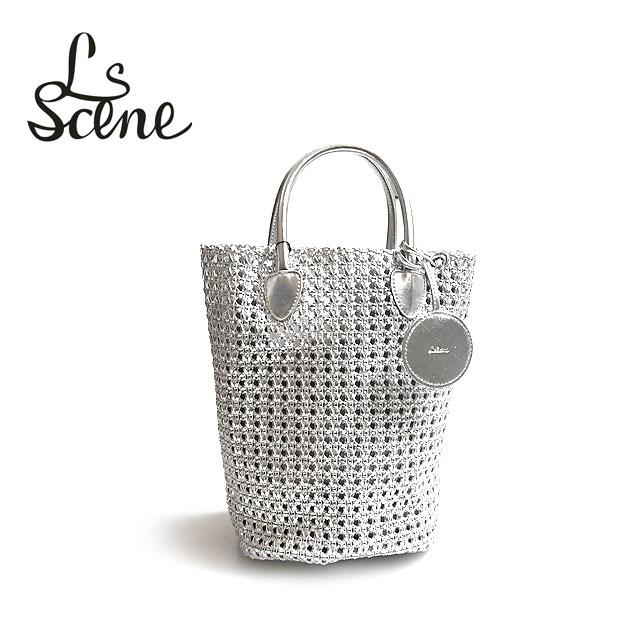 【待望の最新作】【STORY 雑誌掲載】≪LS Scene≫ エルエスシーンシルバー かご編み スモール トートバッグ ミニバッグ Silver Bag (Silver)【レディース】