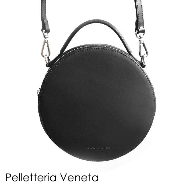 【待望の最新作】≪Pelletteria Veneta≫ ペレッテリア・ベネタ本革レザー 円形 丸型 ブラック サークル ラウンド バッグ 2WAY ポシェット Learther Bag (Black)【レディース】【ネコポス不可】