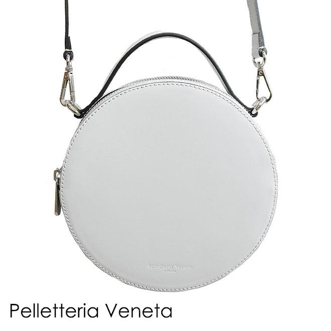 【STORY 雑誌掲載】【Marisol 雑誌掲載】≪Pelletteria Veneta≫ ペレッテリア・ベネタ本革レザー 円形 丸型 ライトグレー サークル ラウンド バッグ 2WAY ポシェット Learther Bag (Grey)【レディース】【ネコポス不可】