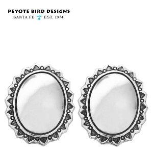 【待望の最新作】≪PEYOTE BIRD DESIGNS≫ ペヨテバード・デザイン 楕円形 オーバル シルバー コンチョ フラワー モチーフ スタッズ ピアス SV925 Earrings (Silver)【レディース】【敬老の日】【ギフト