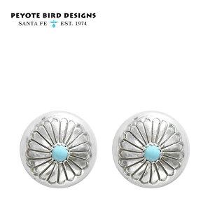 【CLASSY 雑誌掲載】≪PEYOTE BIRD DESIGNS≫ ペヨテバード・デザインターコイズ シルバー コンチョ フラワーモチーフ スタッズ ピアス SV925 Turquoise Earrings (Silver)【レディース】