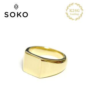 【待望の最新作】≪SOKO≫ ソコ◎アップグレード◎ ボリューム 印台 印章型 シグネット ピンキー リング 小指リング 24金 ゴールド コーティング Square Signet Rings (Gold)【レディース】