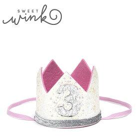 ≪Sweet Wink≫ スィート・ウィンク3歳 誕生日 クラウン 王冠 ヘアアクセサリー ホワイト ピンク ラメ グリッター ヘアバンド 記念 バースデー GLITTER CROWN (White)【ベビー/キッズ/女の子】