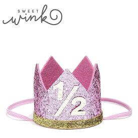【お買い物マラソンセール 50%OFF】≪Sweet Wink≫ スィート・ウィンク1/2歳 6ヵ月 ハーフバースデー 誕生日 クラウン 王冠 ヘアアクセサリー ピンク ラメ グリッター ヘアバンド バースデー GLITTER CROWN (Pink)【ベビー/キッズ/女の子】