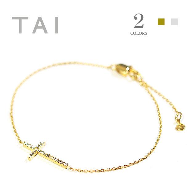 【再入荷】【大決算セール】≪TAI≫ タイ全2色 キュービックジルコニア 十字架クロスモチーフ チェーンブレスレット Cross Bracelet (Gold/Silver)【レディース】【楽ギフ_包装】