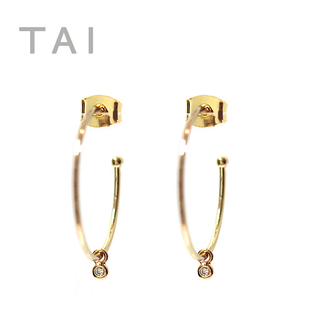 ≪TAI≫ タイキュービックジルコニア フープピアス CZ Bijou Earrings (Gold)【レディース】【楽ギフ_包装】