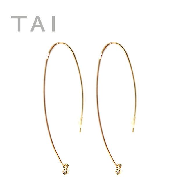 ≪TAI≫ タイキュービックジルコニア カーブピアス CZ Bijou Earrings (Gold)【レディース】【楽ギフ_包装】