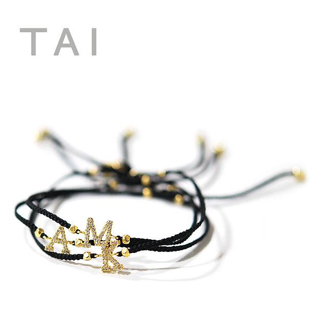【大決算セール】≪TAI≫ タイボヘミアン キュービックジルコニア イニシャルロゴ コードブレスレット Initial Cord Bracelet (Gold)【レディース】【楽ギフ_包装】
