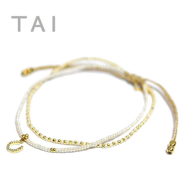 【楽天アフターセール】≪TAI≫ タイキュービックジルコニア 馬蹄ホースシュー パール コードブレスレット CZ HouseShoe Cord Bracelet (Gold)【レディース】【楽ギフ_包装】