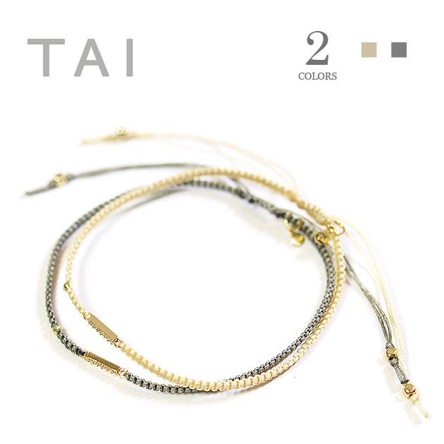 【大決算セール】≪TAI≫ タイ全2色 キュービックジルコニア スティック コードブレスレット CZ Cord Bracelet【レディース】【楽ギフ_包装】