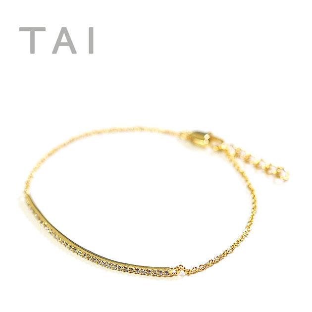 【大決算セール】≪TAI≫ タイキュービックジルコニア バー チェーンブレスレット CZ Chain Bracelet (Gold)【レディース】【楽ギフ_包装】