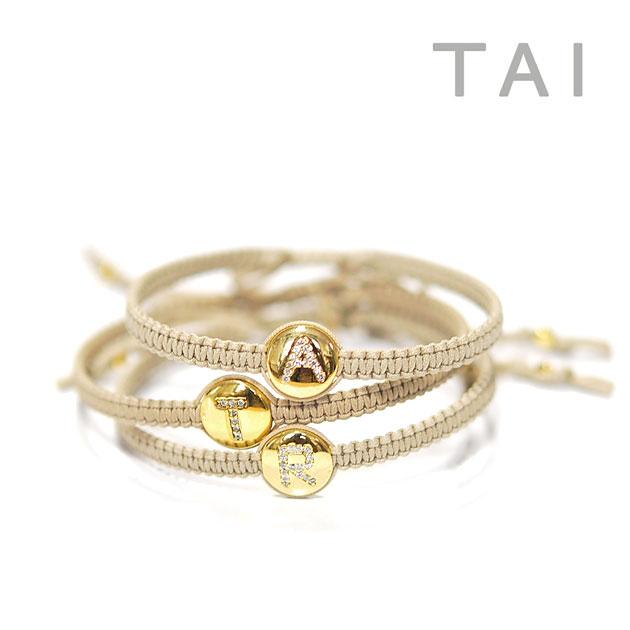 【再入荷】【大決算セール】≪TAI≫ タイCZ キュービックジルコニア イニシャル コード ブレスレット Initial Cord Bracelet (Gold)【レディース】【楽ギフ_包装】