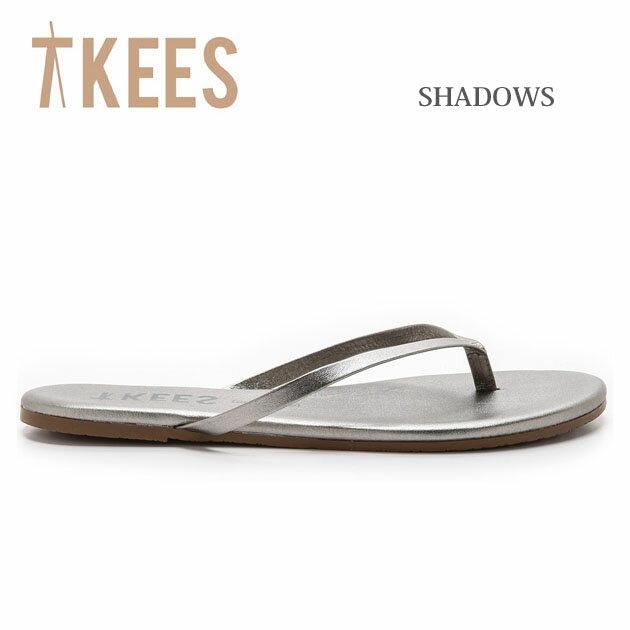【新入荷】≪TKEES≫ ティキーズ本革レザー メタリック シルバー グレー トングサンダル (SHADOWS)【レディース】