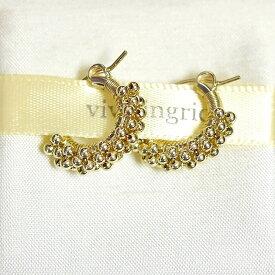 【再入荷】【楽天ランキング入賞】≪viv & ingrid≫ ヴィヴ&イングリッドスパイラル ゴールド フープ ピアス Spiral Hoop Earrings ExtraSmall (Gold Beads)【レディース】