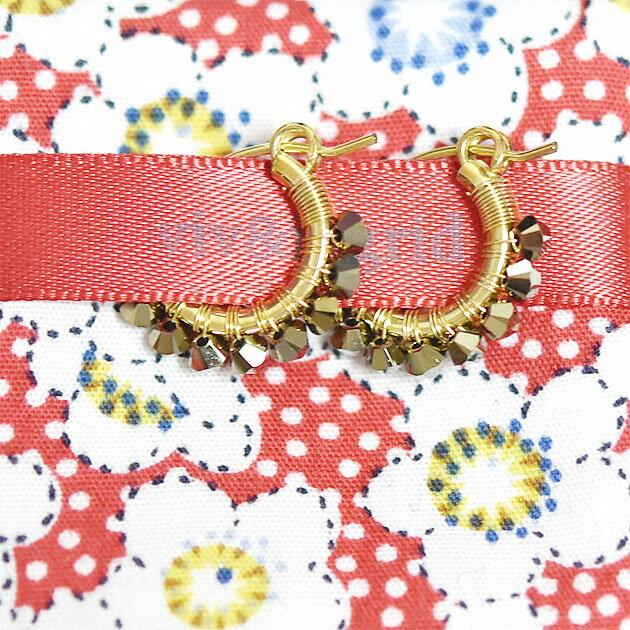 【再入荷】≪viv & ingrid≫ ヴィヴ&イングリッドメタリックゴールド ラップフープピアス XSサイズ Wrap Hoop Earrings (Metallic Swarovski)【レディース】【楽ギフ_包装】