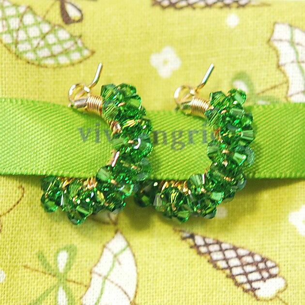 【再入荷】≪viv & ingrid≫ ヴィヴ&イングリッドファーングリーン スワロフスキー スパイラルフープピアス Spiral Hoop Earrings XSmall (Fern Green Swarovski)【レディース】【楽ギフ_包装】
