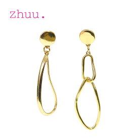 【CLASSY 雑誌掲載】【お買い物マラソンセール 50%OFF】≪zhuu.≫ ズーゴールド 2連 リング アシンメトリー イヤリング Ring Asymmetry Earrings (Gold)【レディース】【母の日】