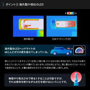 【2年保証】日本ライティングLEDヘッドライトH4ハイスペックモデル日本製車検対応Lo:5000lm(6000K)Hi:7000lm(6500K)