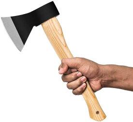 #43 キャンプアウトドア焚き火用薪割り手斧セット 保護ケース耐切創手袋付き