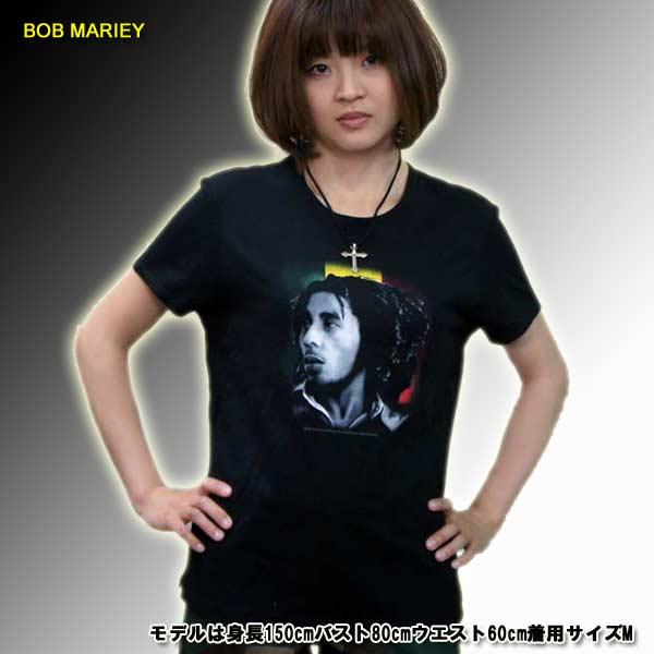 レゲー ロック レディースtシャツ ボブ・マーリィ  BOB MARIEY レジェンド・ワールドパンクロック 海外ロック バンド ツアーtee