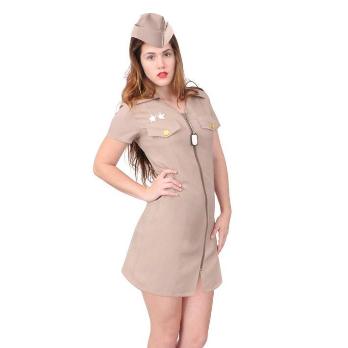 ミリタリー コスプレ 制服ワンピース キャップ付 ウィメンズ  ロスコrothco Women's Khaki Military Costume