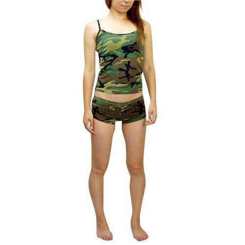 キャミソール ボクサーパンツ セットアップ 迷彩 ロスコRothcoインナー ランジェリー Womens Booty Shorts & Tank Tops