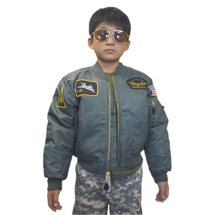 トップガン キッズ MA-1 セージ 黒パッチ付 フライトジャケット子供服 MA-1 FLIGHT JACKETS